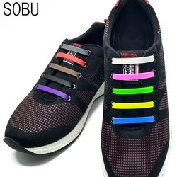 16Pcs/Lot New No Tie Silicone Shoe Laces Creative Shoelaces For Unisex Women Running Elastic Silicone Shoe Lace All Sneaker K052