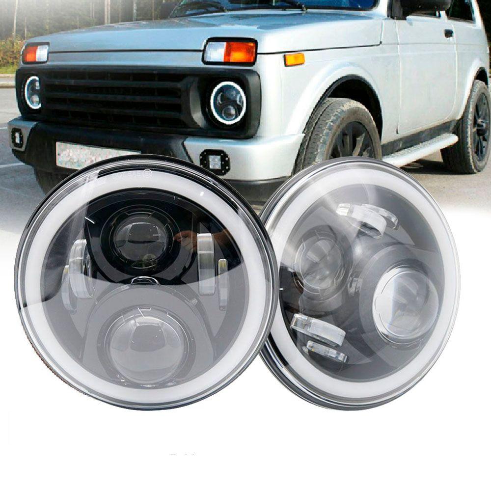 7 pouces LED Projecteurs avec Halo Anneau Ambre Clignotants Pour lada niva 4x4 suzuki samurai 7 LED DRL Halo Phares Pour VAZ 2101