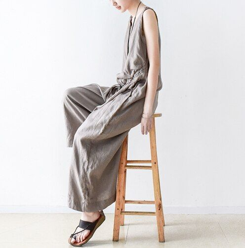 18 New Summer Small Fresh Linen Wide Leg Pants Jumpsuit Casual Loose Cool Lace Up Grey Travel Jumpsuits