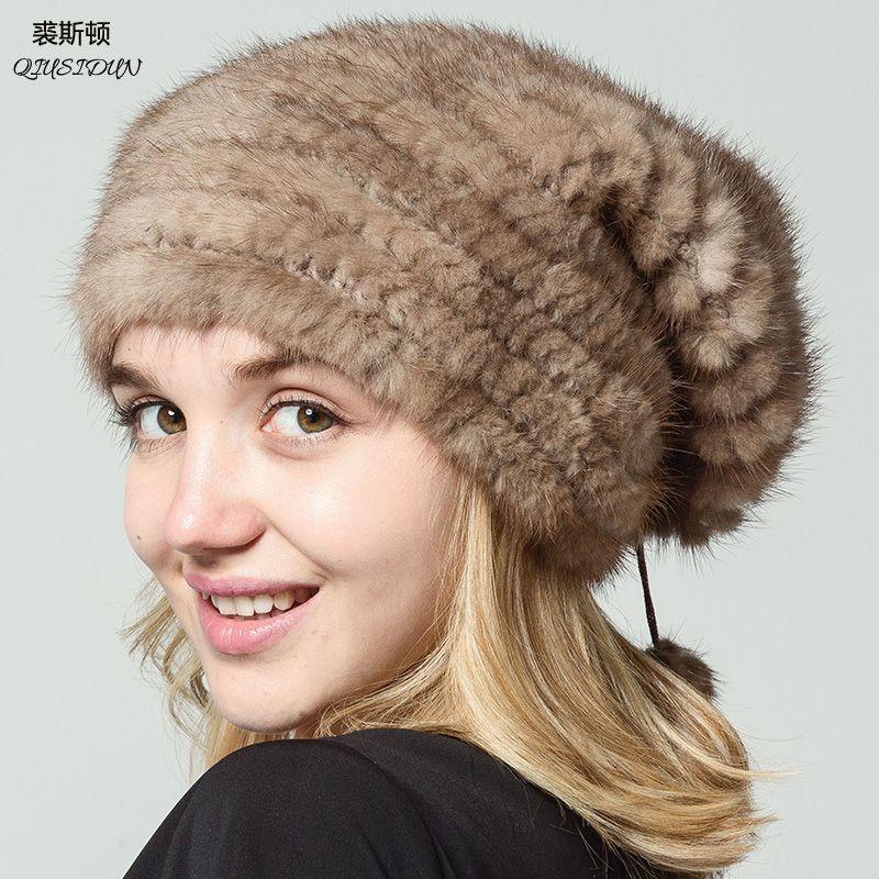 Qiusidun Real natural Mink fur Knitted Hats Fashion Russian Women's Winter Fur Warm Baotou Hat Women's Winter knit Hat Beanie