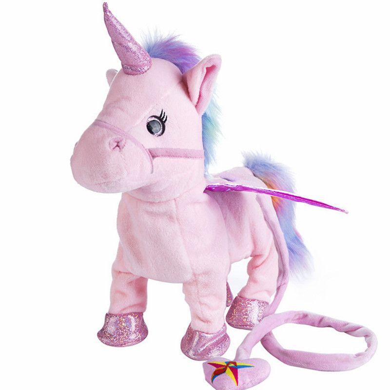 VIP 35 cm Chant et Marche Licorne Électronique en peluche Robot Cheval Électronique unicornio en peluche animal jouet Enfant enfant cadeau de noël