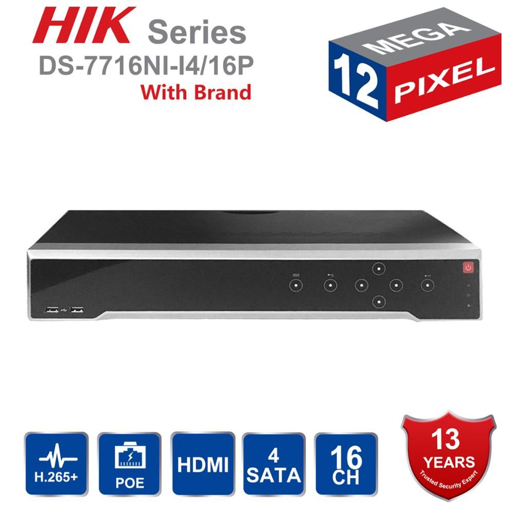 HIK Original Englisch H.265 4 K NVR 16CH DS-7716NI-I4/16 P Professionelle POE NVR für CCTV Kamera System HDMI VGA Stecker & Play NVR