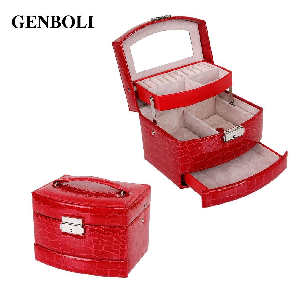Genboli Для женщин Макияж Чехол Шкатулка кожаный Органайзер для хранения Дисплей упаковки стойки Box Свадебные украшения подарок
