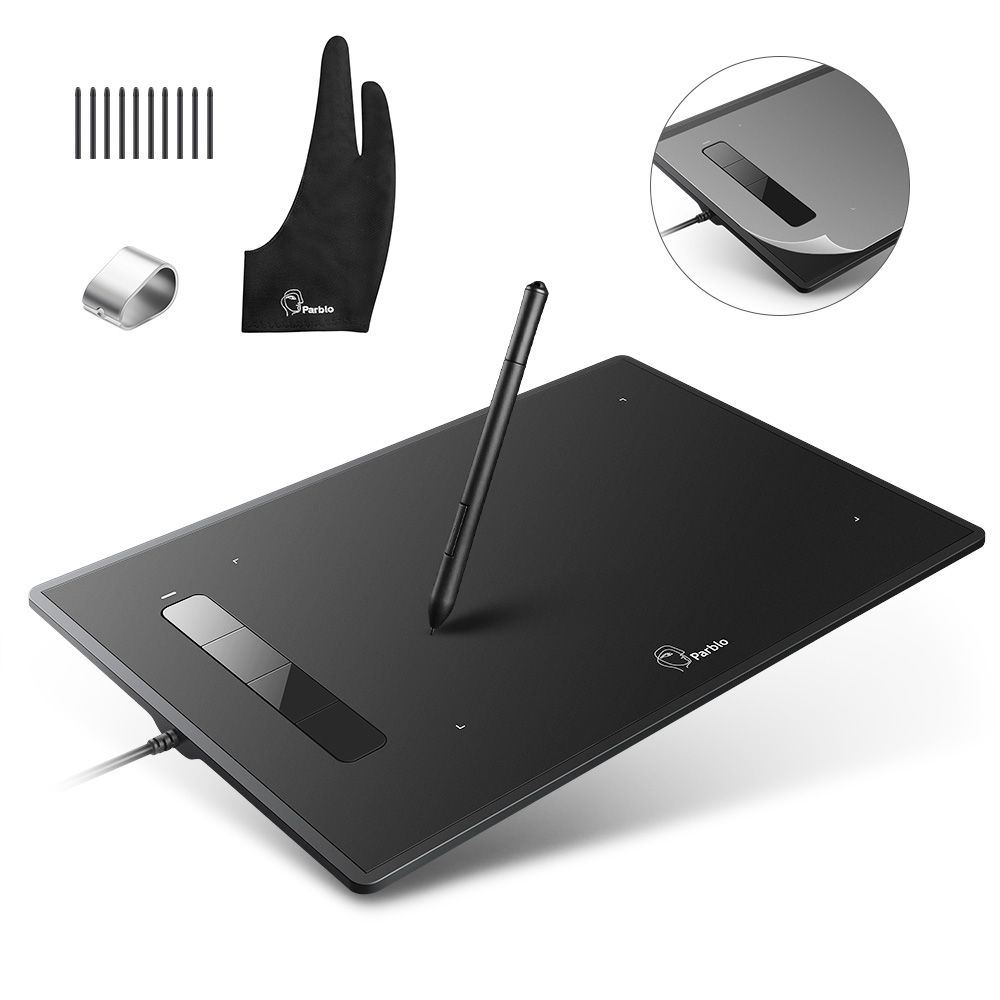 Professional Parblo Island A609 Graphic Tablet with Battery-free Pen+Two-Finger Glove+Replacement Nibs Kit+Protection Film