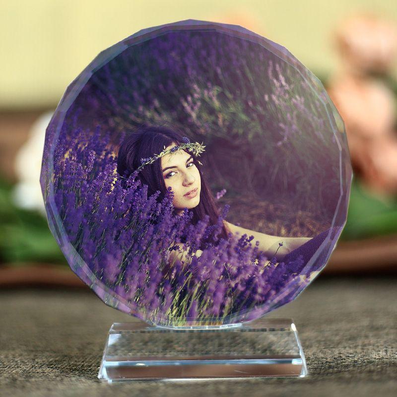 Personnalisé Laser gravé cristal Fotos cadre rond famille mariage Photo Album saint valentin anniversaire cadres Photo cadeaux