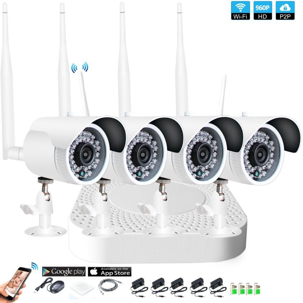 4CH 1080 p HD Wireless NVR Kit P2P 960 p Indoor Outdoor IR Nachtsicht Sicherheit 1.3MP IP Kamera WIFI CCTV System