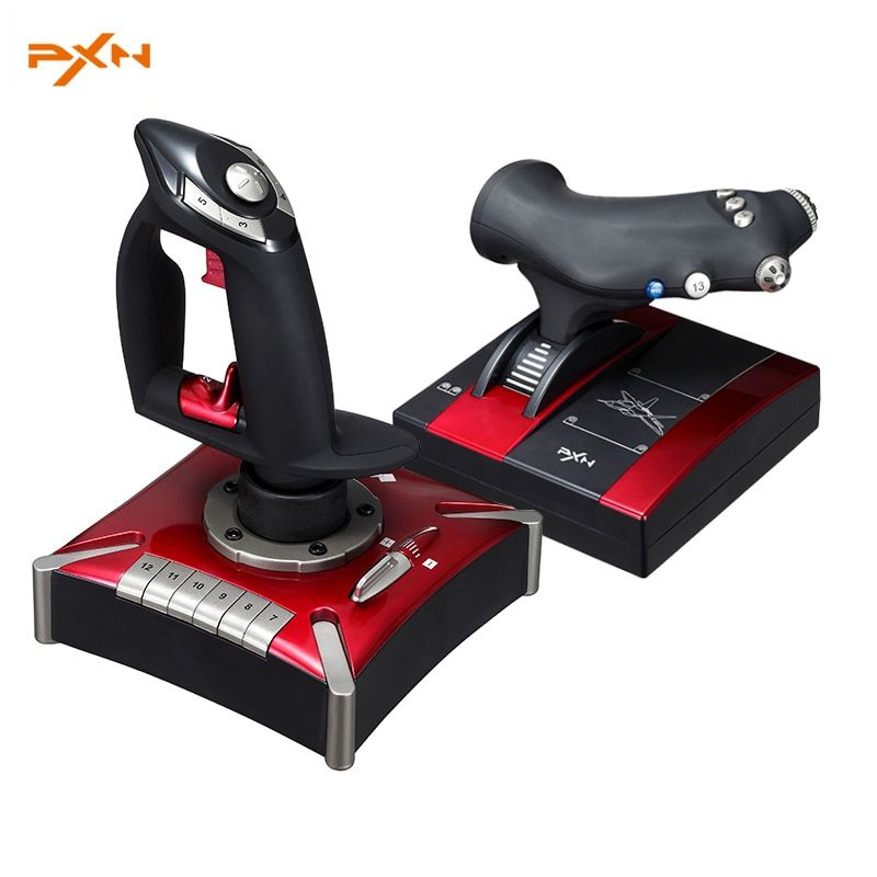 PXN 2119II juego de simulación de vuelo stick controlador real dual vibración vuelo joystick para PC juego de vuelo control