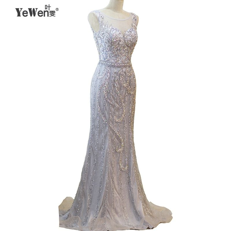 YeWen Elegant Mermaid Evening Dresses Long 2017 New with Scoop-Neck Capped Sleeves Beading Silver Prom Gown Vestido de Festa