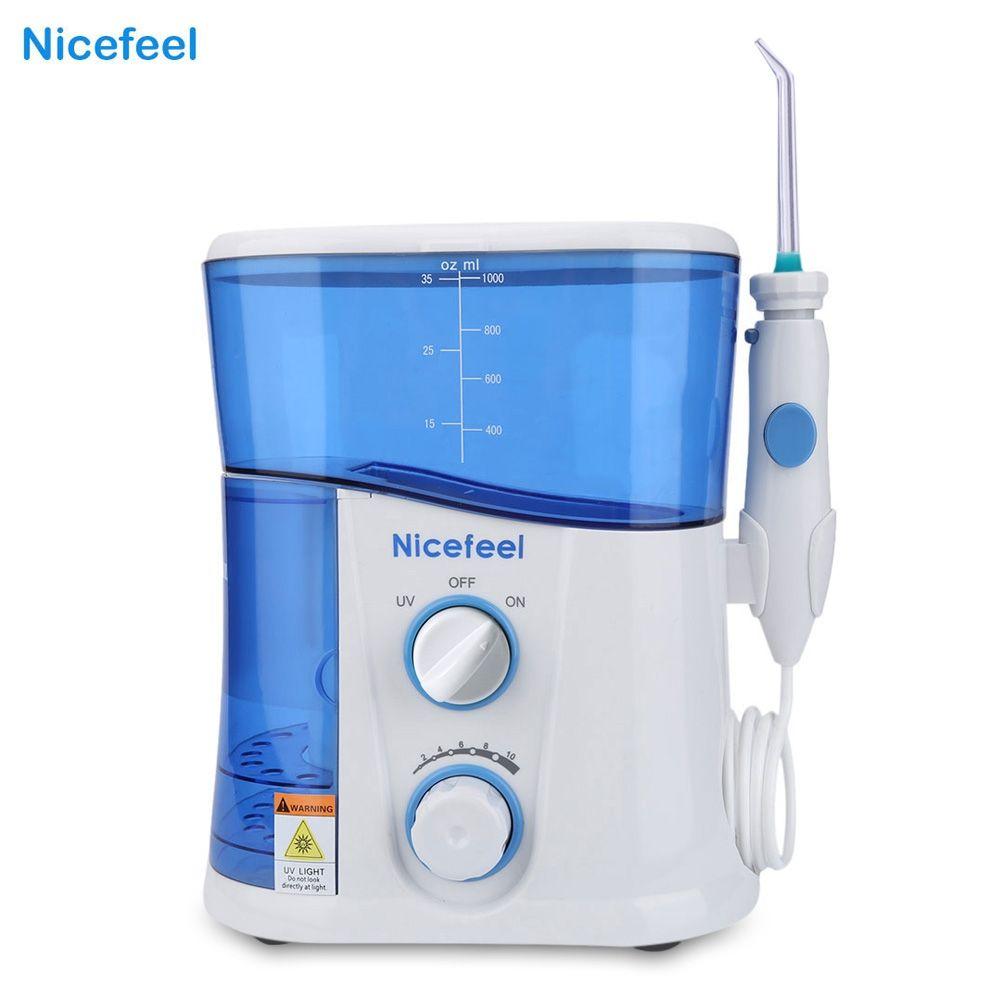 Nicefeel 1000ML Water Flosser Dental Oral Irrigator Dental Spa Unit Professional Floss Oral Irrigator 7Pcs Jet Tip Water Tank
