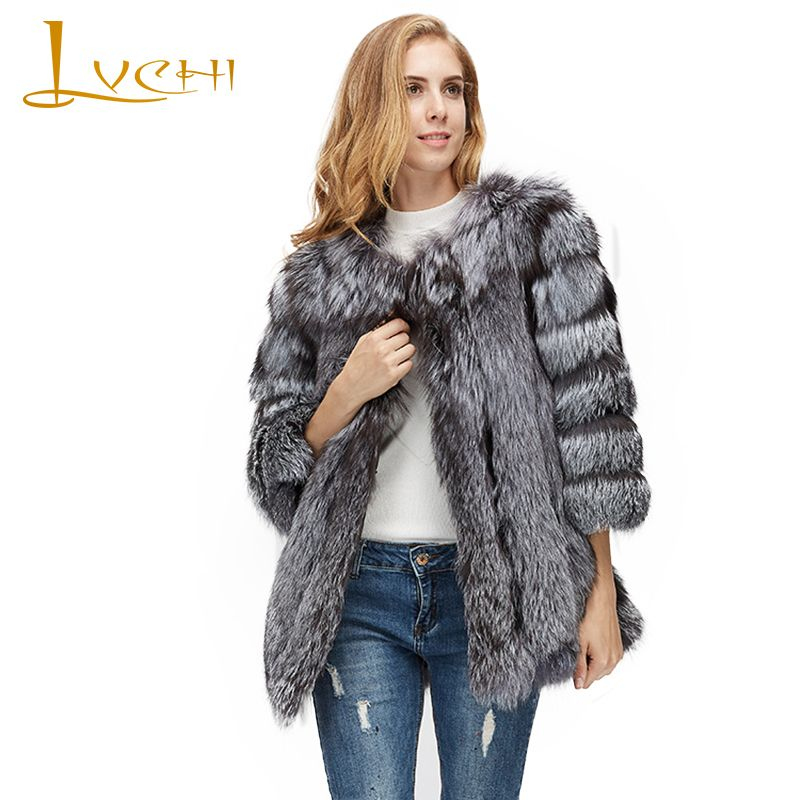 LVCHI Winter 2017 Contrast Color Real Fox Fur Coats Red Sliver Natural Fox Fur Coat Women's With Fox Fur Collar Medium Fox Coats