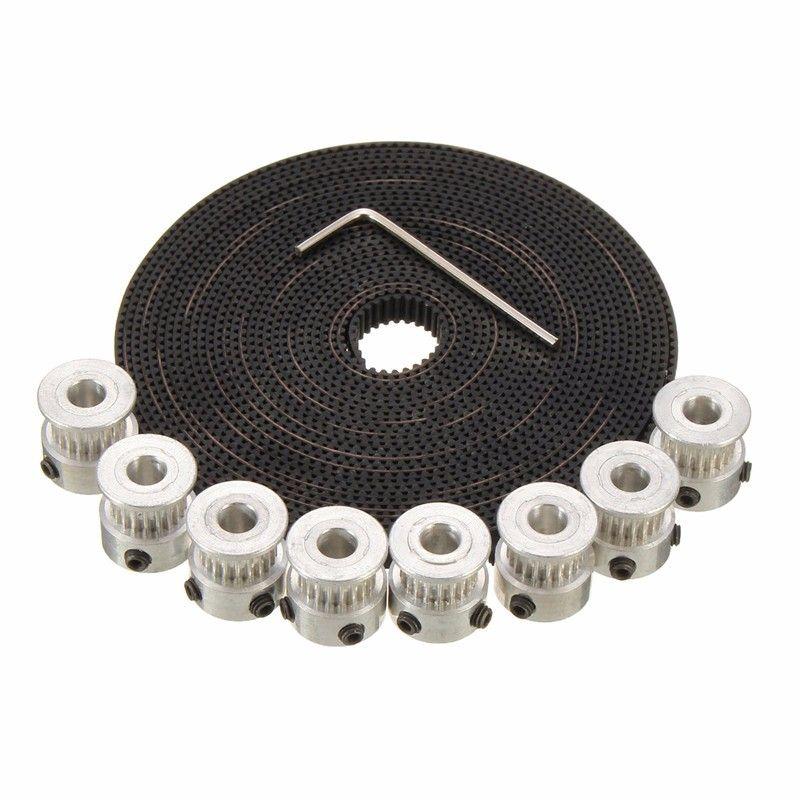 New Arrival 8Pcs Aluminium 20 Teeth GT2 Pulley 5M GT2 Timing Belt + 16 x Screws + 1 x Wrench For 3D Printer For RepRap