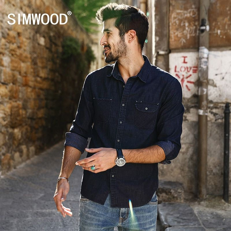 Simwood 2018 Новинка весны Повседневное Джинсовые рубашки Для мужчин Slim Fit плюс Размеры брендовая одежда cs1592