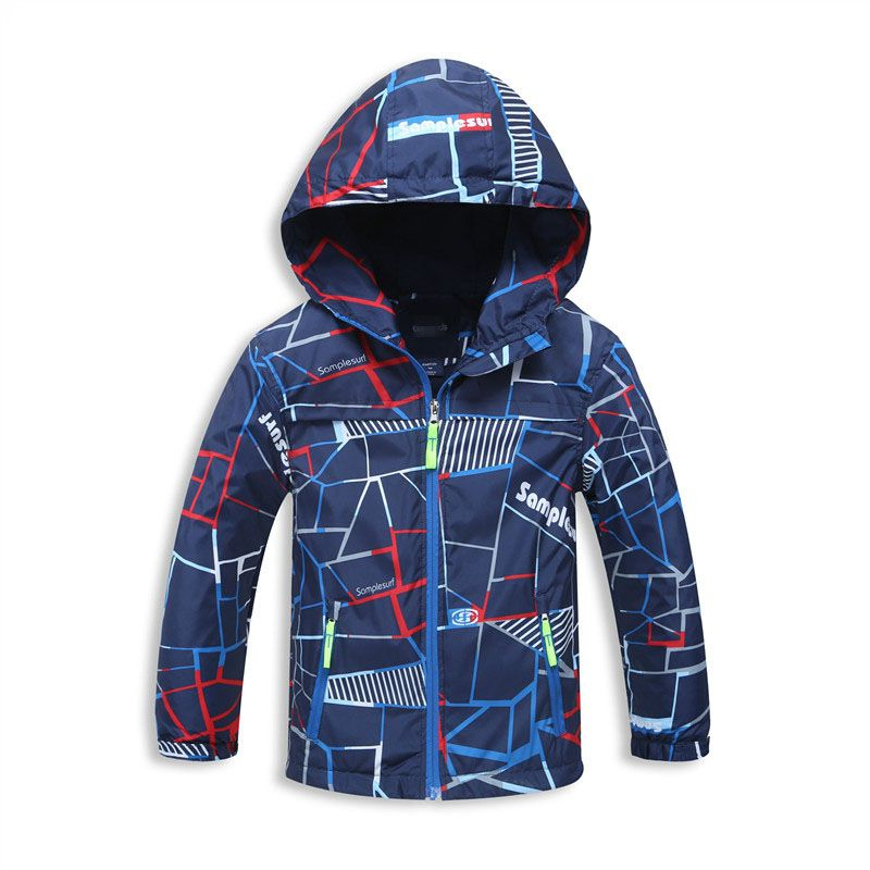 Весенняя куртка для Обувь для мальчиков осенние флисовые пальто с капюшоном дети 3-12years детские куртки ветровка Модный плащ Куртка для мальч...