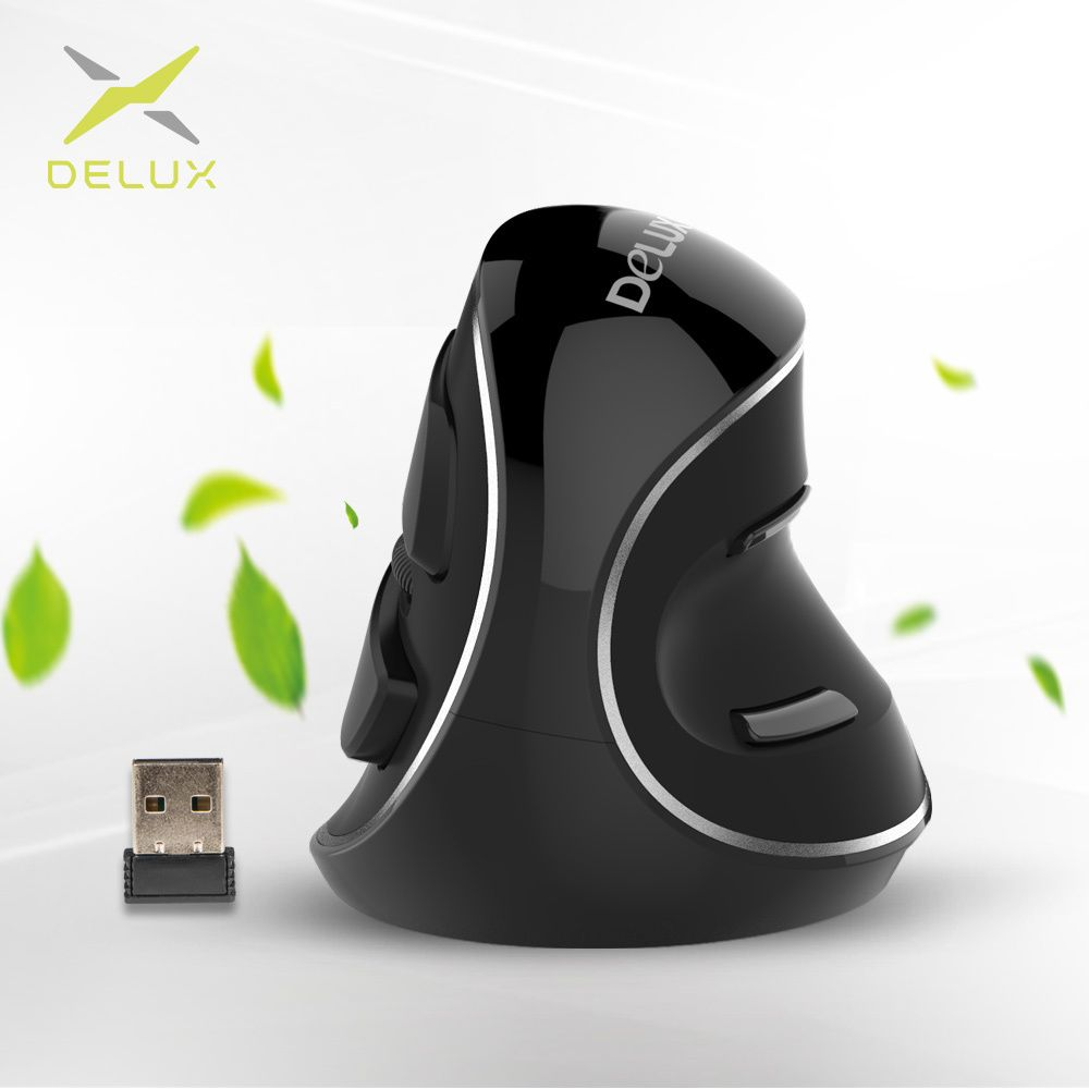 Delux M618 Plus Ergonomic Vertical Wireless Mouse 800/1200/1600 DPI 6 Function Buttons Optical Mice with Removable Palm Rest