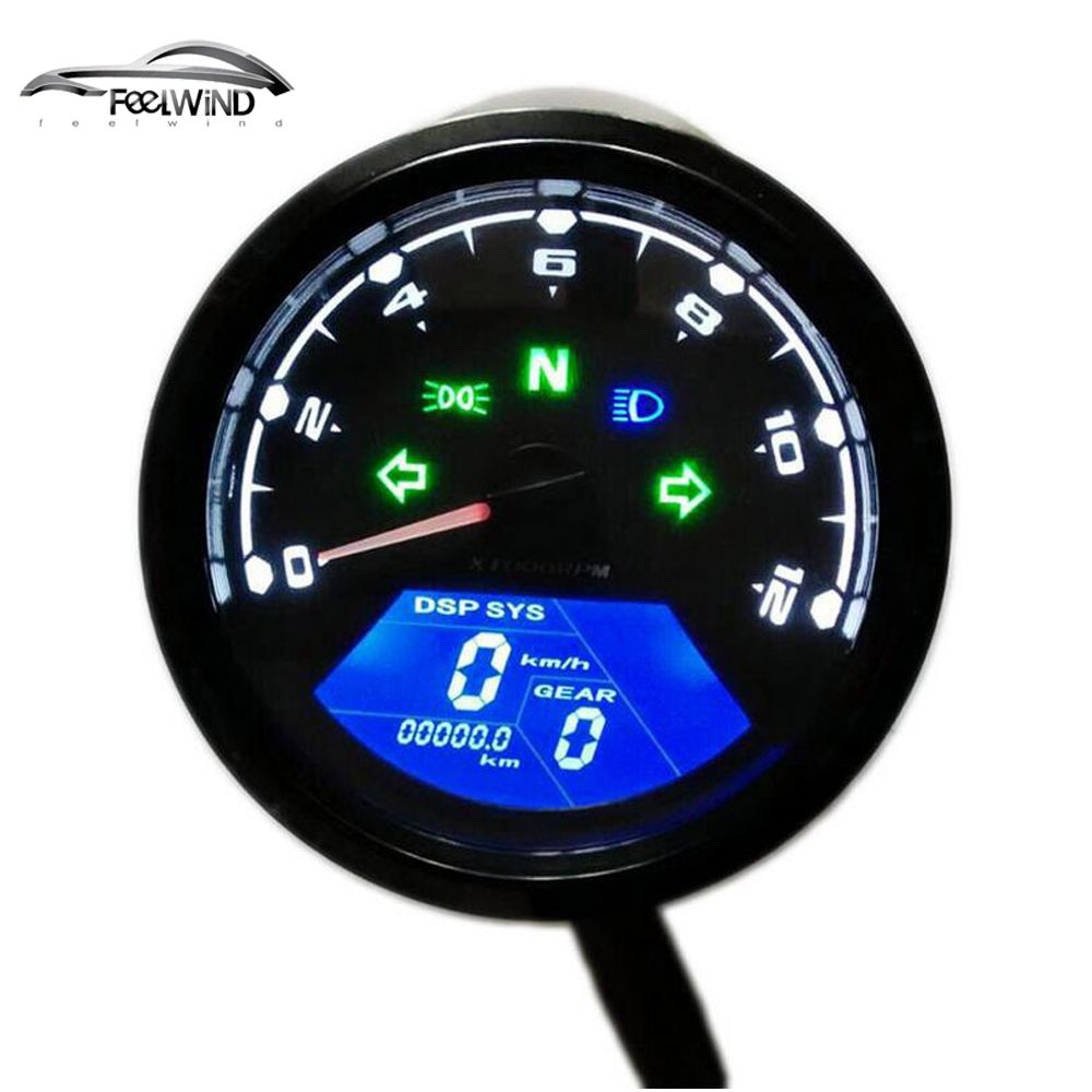 12000 RMP kmh/mph Universal LCD Digital Odometer Speedometer Tachometer Gear indicator Motorcycle <font><b>Scooter</b></font> Golf Carts ATV