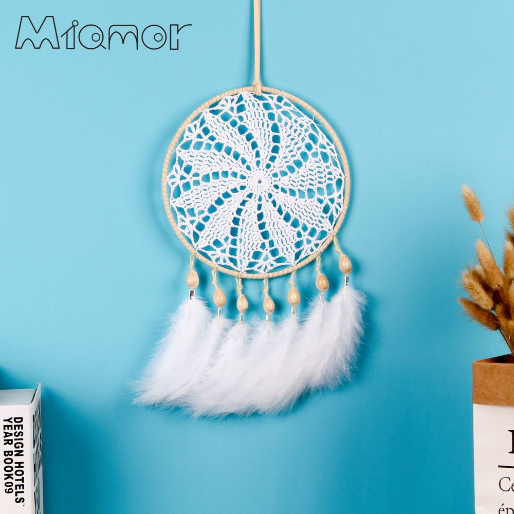 MIAMOR grand attrapeur de rêves fait à la main Crochet attrapeur de rêves avec plumes blanches mariage et voiture et décoration de la maison pendentif AMOR042