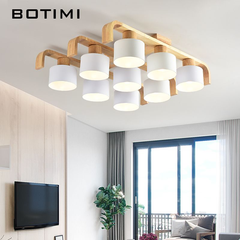 BOTIMI Nordic Style Ceiling Lights For Living Room Square Surface Mount White Bedroom Lamp Wooden Ceiling Lamp Dining Luminaire