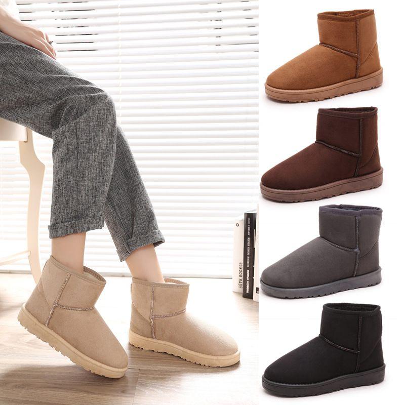 Теплые зимние сапоги повседневные туфли на плоской подошве для отдыха полусапожки Удобные однотонные круглый носок женская обувь Дамская ...