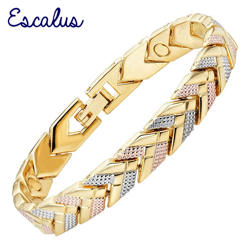 Escalus Link Chain Bracelet For Women 3-Tone Gold Color Bracelet Magnetic Arrow Bangle Fashion Ladies Jewelry Gift <font><b>Charm</b></font>
