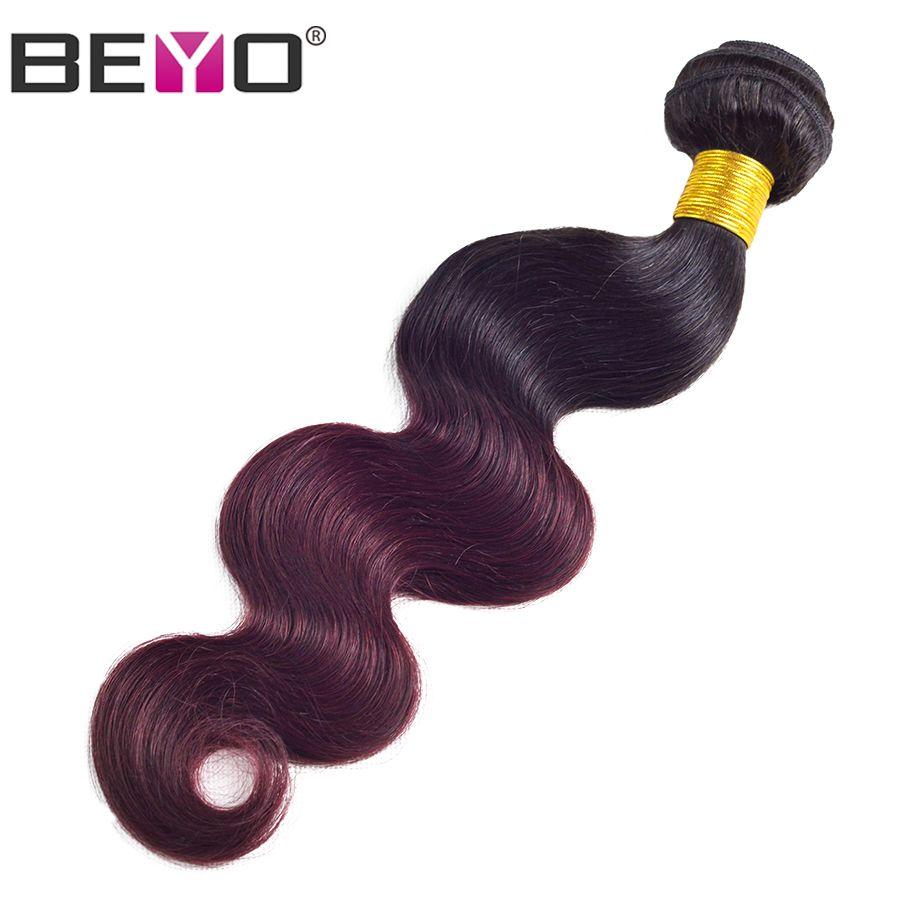 Beyo Hair Brazilian Body Wave Ombre human Hair Weave Bundles 1b Burgundy ombre Hair Extension 1 PCS Non-Remy Hair bundles 1b 99j