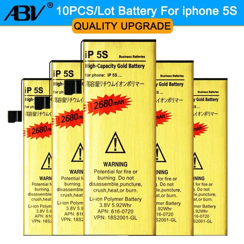Nagelneu und Hohe Qualität großhandel 10 teile/los für iphone 5 s batterie Goldenen Handy-akku für iPhone 5 s batterie