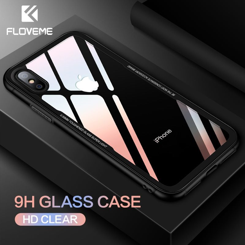 FLOVEME Tempered Glass Phone Case for iPhone X 10 , 0.7MM Protective Mobile Phone Cover Cases for iPhone 7 8 Plus 6 6s XS Max XR