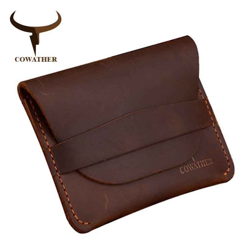 COWATHER 100% top qualité Crazy horse en cuir véritable titulaire de la carte de crédit pour hommes nouveau portefeuille pour crads et pièce 109 livraison gratuite