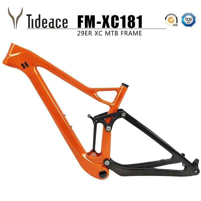Tideace full twinloc suspension XC carbon mountain bike frame disc 29er mtb carbon 29er/27.5er plus boost suspension frame