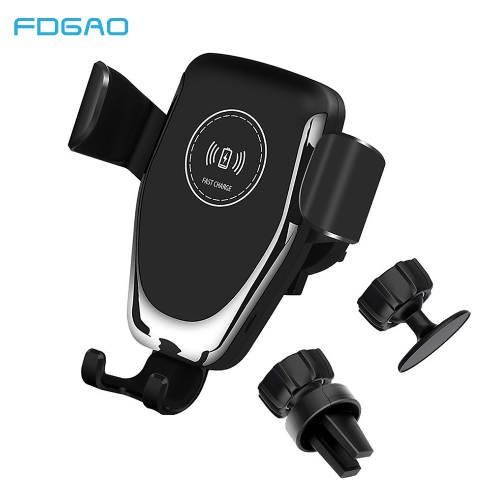 FDGAO Qi chargeur de voiture sans fil support pour téléphone de prise d'air par gravité chargeur de charge rapide pour iPhone XR XS Max X 8 Samsung S9 S8 Plus
