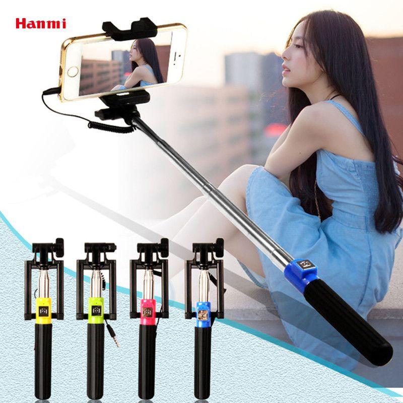 New Mini Extendable Selfie Stick Monopod Foldable Wired Monopod Tripod Selfie Stick For iPhone Samsung Xiaomi Smartphone Selfie