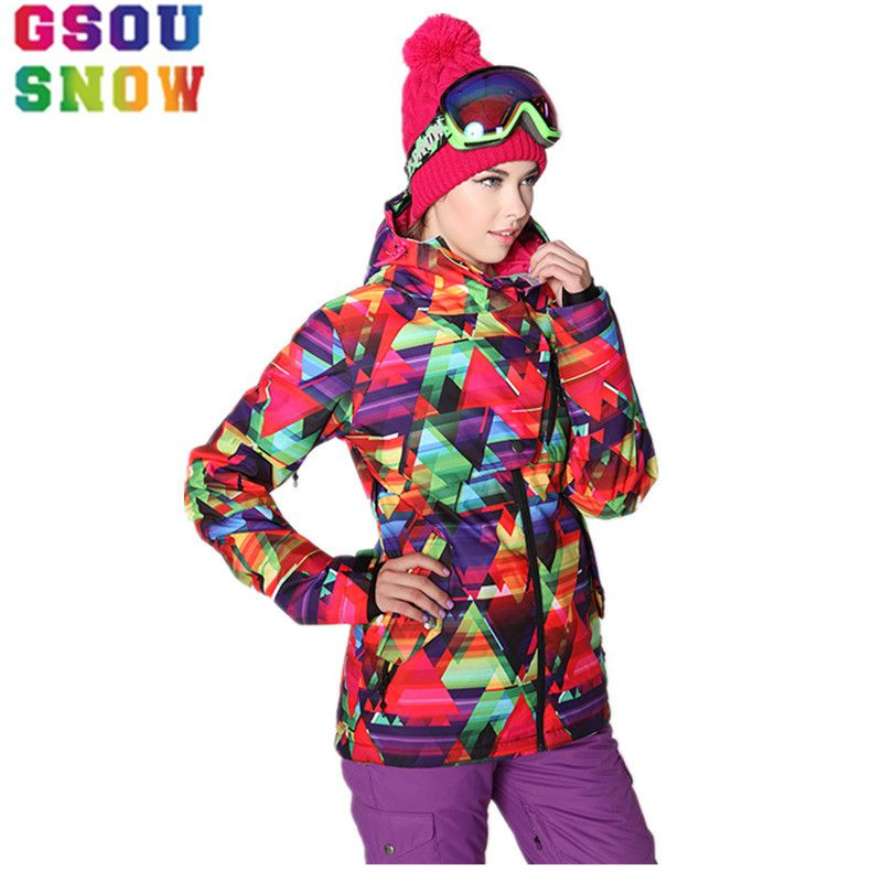 GSOU SNOW Ski Jacket Women Winter Waterproof Snowboard Jacket Plus Size Outdoor Cheap Ski Suit Outdoor Female Warm Sport Coat