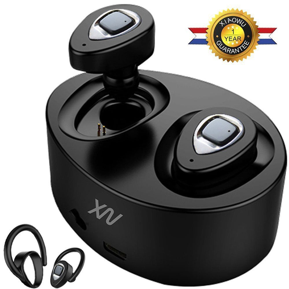 XIAOWU K5/K2 in-ear earphone wireless bluetooth earbuds handsfree headset with mic/ear hook /charging box for iphone 8/ android