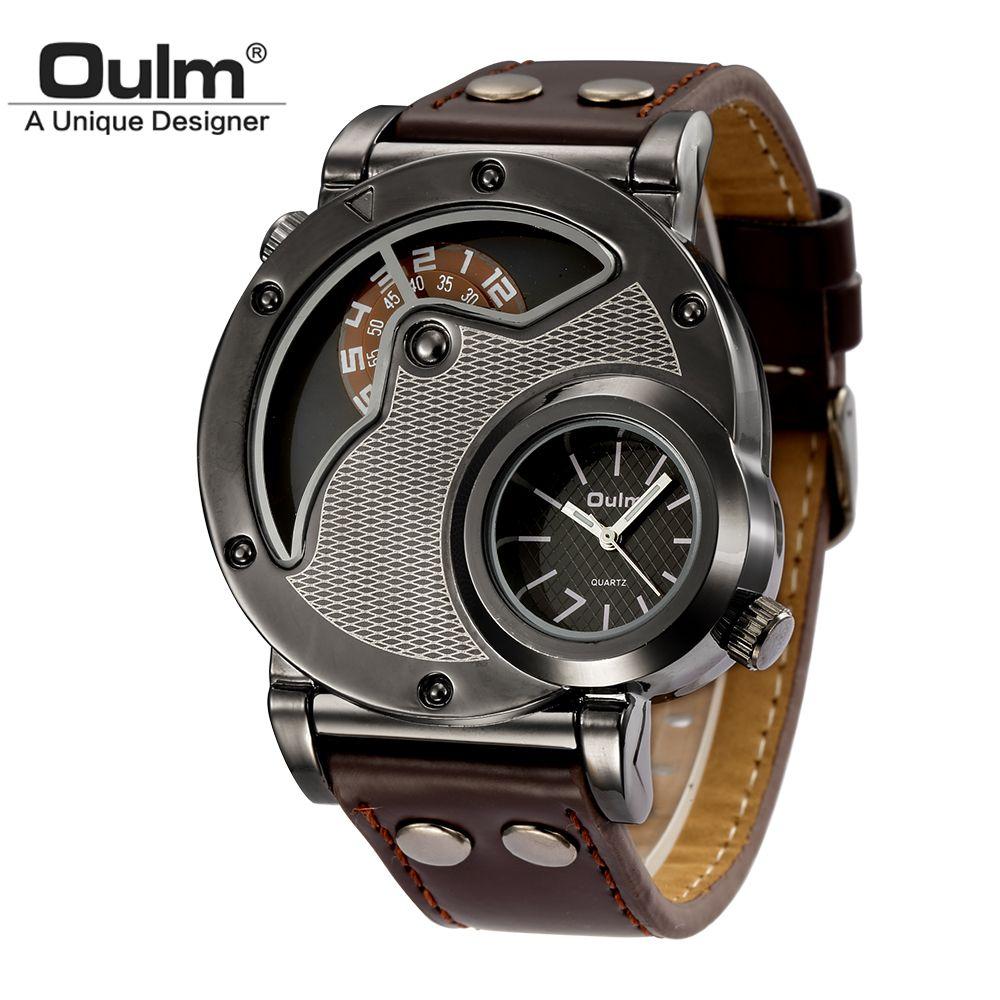 Oulm Unique Design Homme Montres À Quartz Top Marque De Luxe Bracelet En Cuir Militaire Sport Montre-Bracelet Homme Horloge relogio masculino