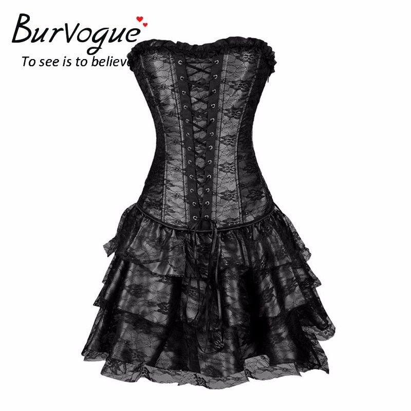 Burvogue Sexy Steampunk Corsets and Bustiers Burlesque Gothic Lace Steampunk Corset Dress Plus Size Costume Floral Bustier Dress