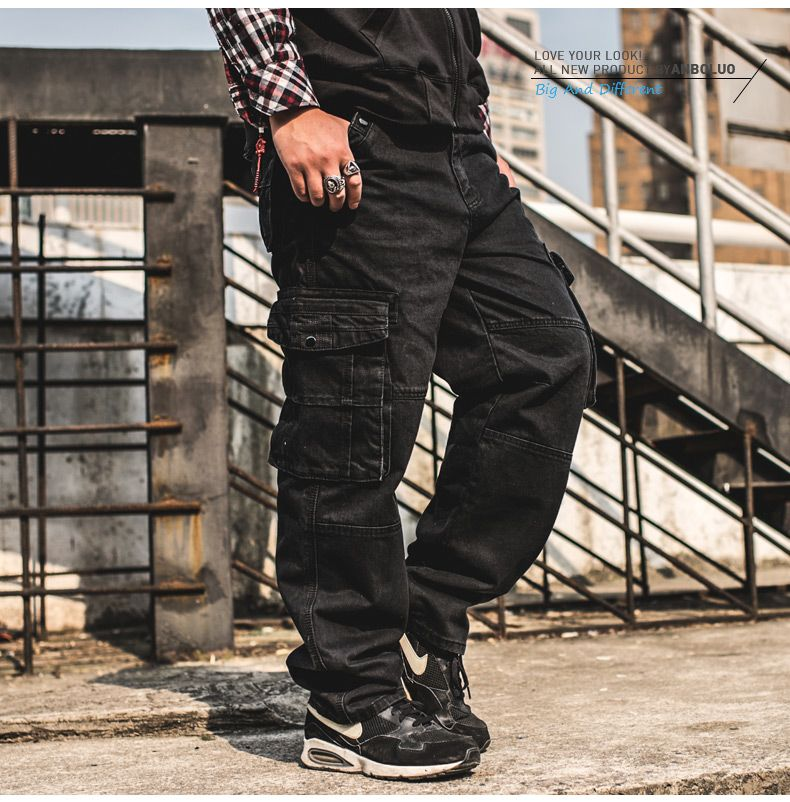 Japon Style Marques Hommes Hip Hop Baggy Jeans Multi-poches Hommes Casual Ample Cargo Noir Jeans Grande Taille 34 36 38 40 42 44 46