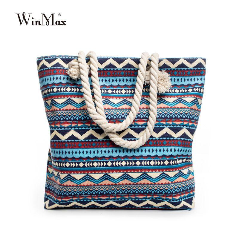 Winmax nouveau été femmes toile style bohème bande épaule sac de plage décontracté fourre-tout Shopping grand sac floral Messenger sacs