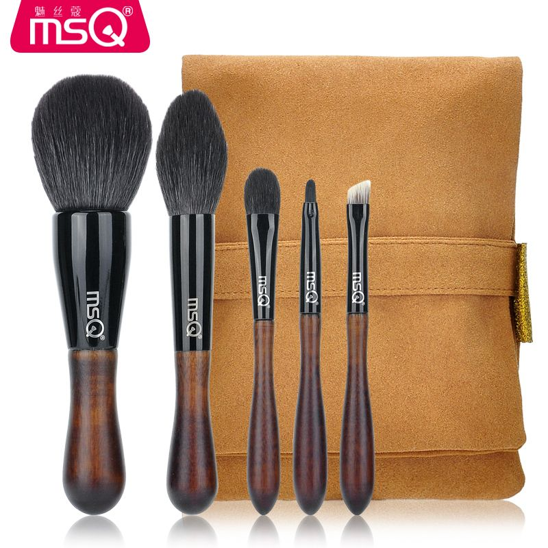 MSQ 5pcs Professional High-quality Raccoon fur Brushes kit Powder makeup brush  Eyebrow brush Wool Eye shadow brush Makeup tools