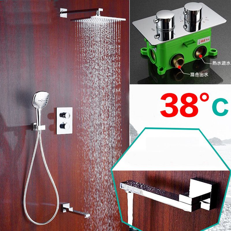 Bathroom Shower Faucet Brass Embedded Thermostatic control switch mixing valve taps Concealed Tub three function Shower sets SS1