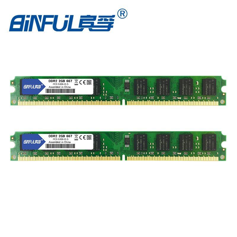 Binful DDR2 667 mhz/800 mhz 4 GO (Kit de 2,2X2 GO pour du Dual Channel) PC2-5300 PC2-6400 Mémoire ram pour ordinateur de bureau 1.8 V