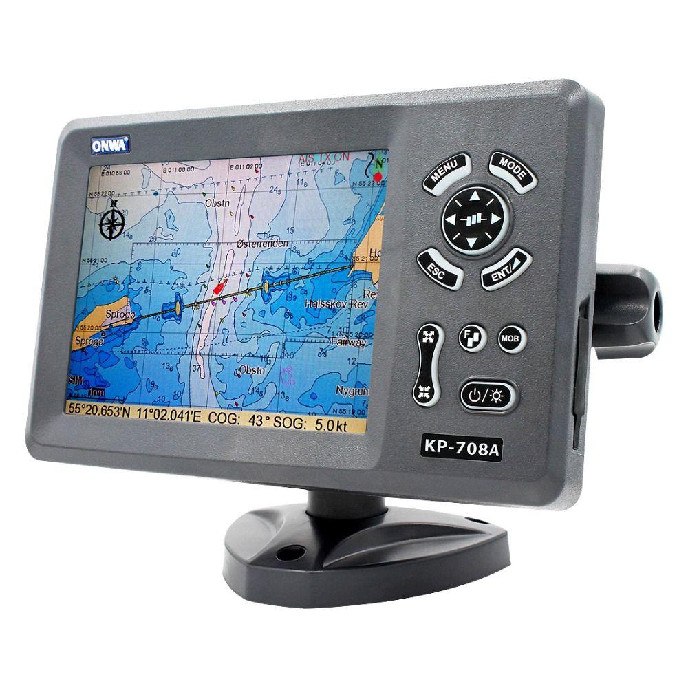 ONWA KP-708A 7-zoll Farbe LCD GPS Diagramm Plotter mit GPS Antenne und Eingebaute Klasse B AIS Transponder Combo marine GPS Navigator