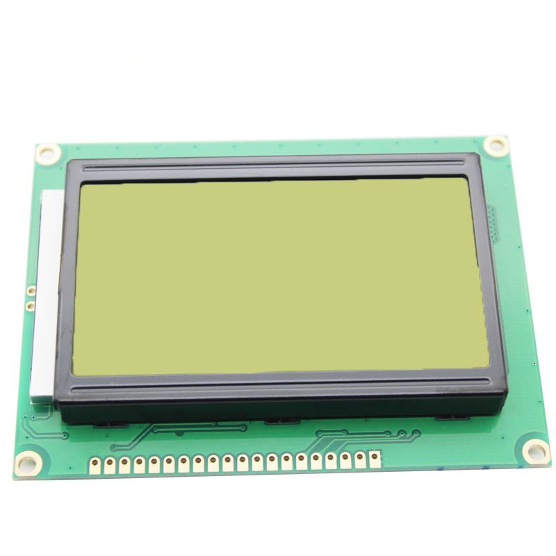 Yellow green screen LCD12864 display with Chinese characters with backlight ST7920 serial port common