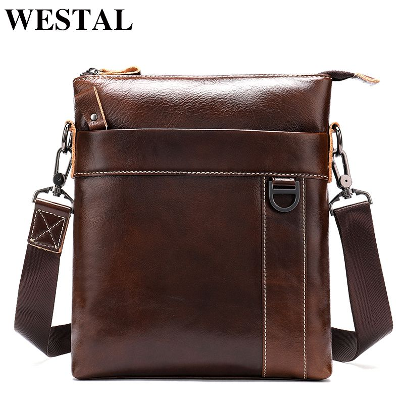 WESTAL Messenger Bag Men Shoulder bag Genuine Leather Small male man Crossbody bags for Messenger men Leather bags Handbag 9010