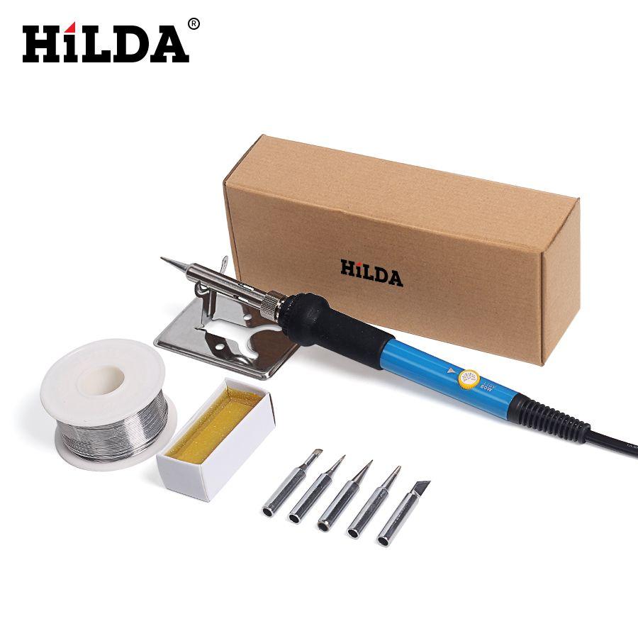 HILDA 220 V 60 W UE Électrique fer à souder Avec 5 pièces pointes de fer Température Réglable Soudure Station Stand de Soudure Fil Outil kit