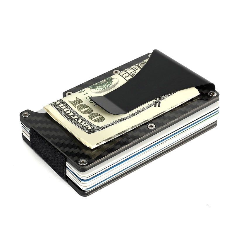 Углерода Волокно Металл Мини зажим для денег rfid кредитной Бизнес Card Case автомобилей держатель ID бумажник я клип путешествия порте Carte карты Г...