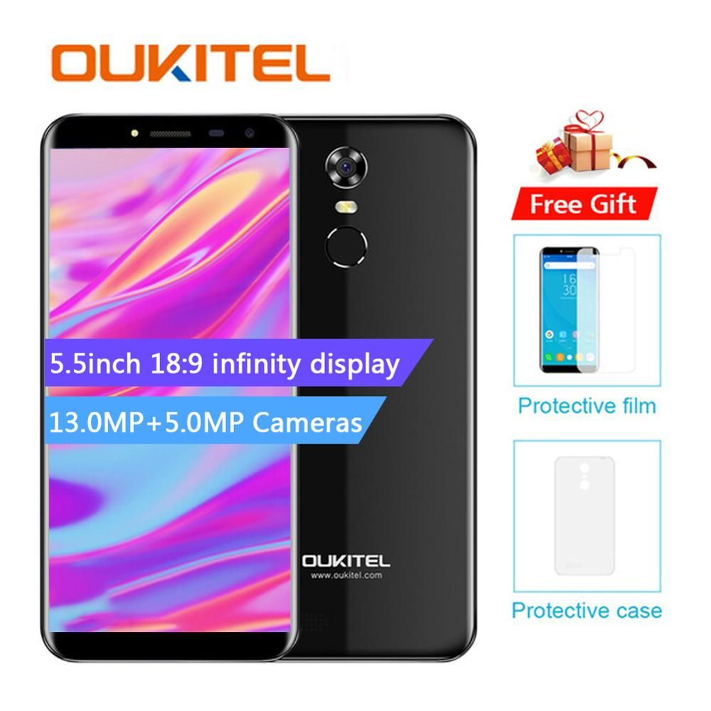 Oukitel C8 5.5 Inch 18:9 Mtk6580A Quad Core Mobile Phone 2G RAM 16G ROM 13mp Android 7.0 3000mah Touch Id Fingerprint Smart Pho