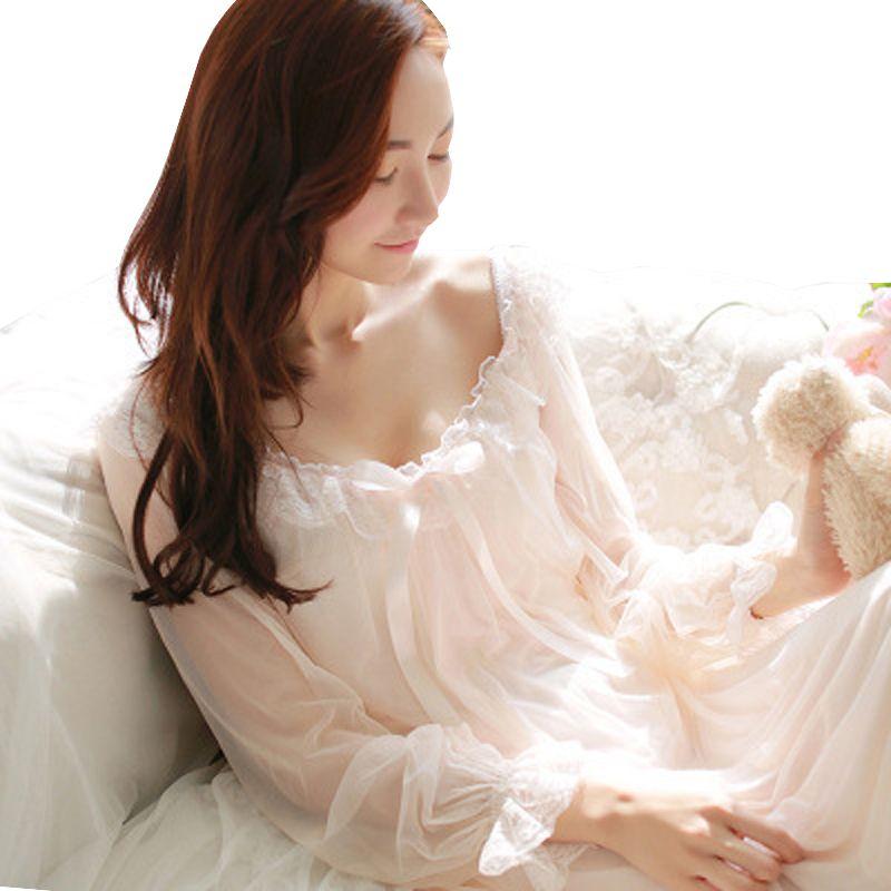 Womens Soft Elegant Long Nightgowns Female Sweet Princess Sleeping Home Dress Lady Lace Sexy White Pink Nightdress Nightclothes