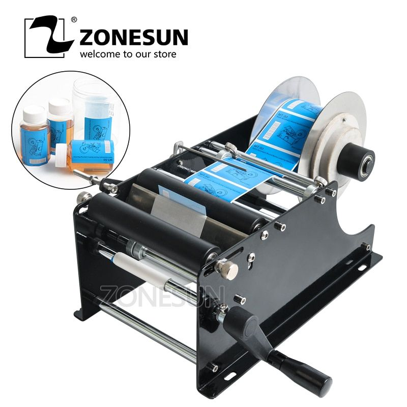 ZONESUN Simple Manual Handy Round Wine Bottle Adhesive Sticker label applicator for PET plastic bottle Packing Labeling Machine