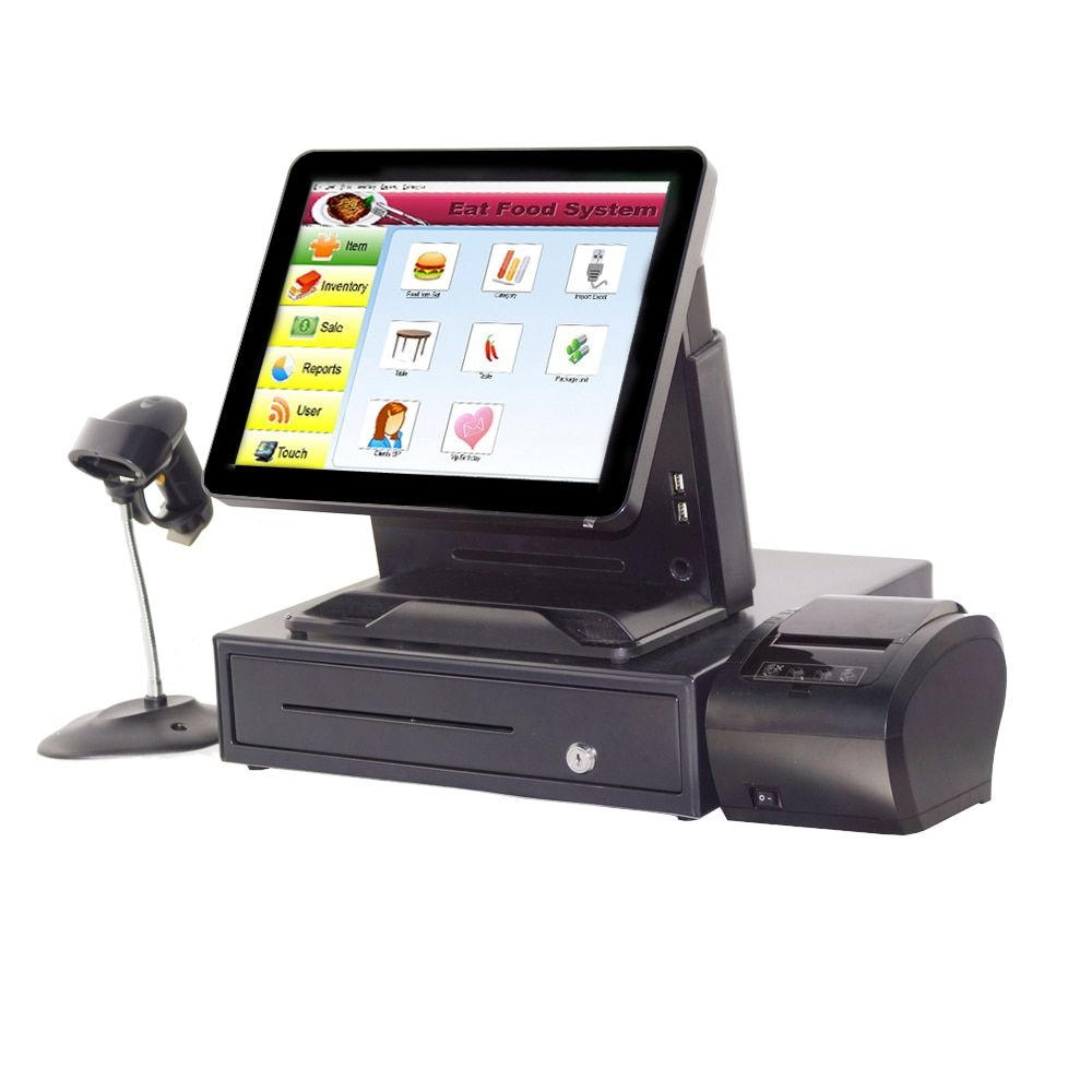 Promotional Complete Set 15 Inch Payment Cash Register With Pos Printer Scanner And Cash Box