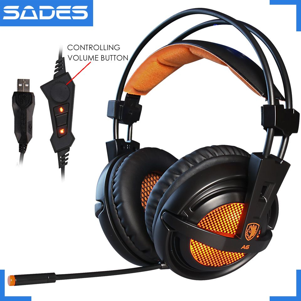 SADES A6 USB 7.1 Stereo wired gaming headphones game headset over ear with mic <font><b>Voice</b></font> control for laptop computer gamer
