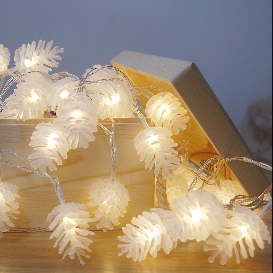 Portable battery operated cordes led/pomme de pin de noël fournitures/parti lumières/nouvelle année décoration pour la maison